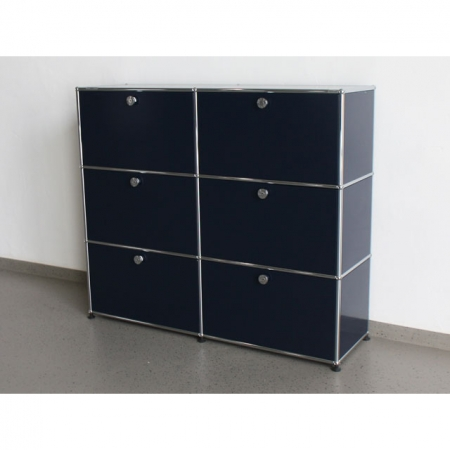 usm haller b rom bel sideboard stahlblau 6 felder mit 6 klappen bei resale. Black Bedroom Furniture Sets. Home Design Ideas
