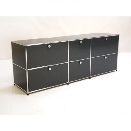 usm haller designerm bel kaufen sideboard in anthrazit 200 cm x 50 cm x 75 bei resale. Black Bedroom Furniture Sets. Home Design Ideas